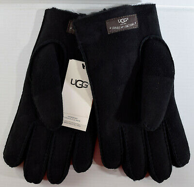 Men's UGG Black Hand Sewn Water Resistant Sheepskin Leather Gloves Size: XL NWT