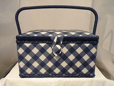 Medium Craft Padded Blue Check Sewing Box New With Handle And Compartment Box