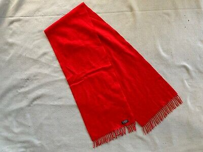 "Unbranded vintage red lambswool scarf-11.5'X62""-W. Germany-unworn cond."