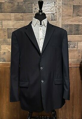 Burberry London Mens  Blazer 46L Pinstriped 100% Wool Two Button Double Vented