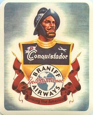 The Conquistador ~BRANIFF AIRWAYS~ Great Old Airline Luggage Label, circa 1955