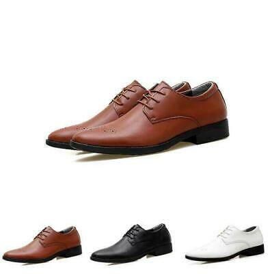 2020 Mens Dress Oxfords Business Leather Wedding Pointy Toe Casual Carved Shoes