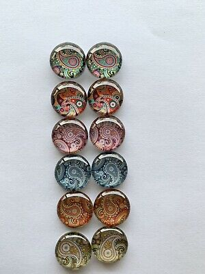 6 Pairs Of 12mm Glass Cabochons #1027