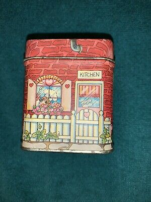 Cute Vintage Enesco Valentines Day Tin Bank Shaped Like A House