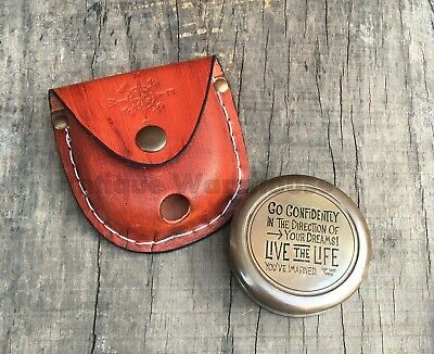 Collectible Antique Brass Pocket Compass With Leather Case Marine Compass Gift
