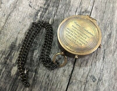 Maritime Nautical Antique Brass Pocket Compass With Chain Vintage Marine Decor
