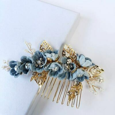 Bridal gold with blue flowers hair comb