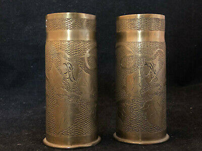 Pair of Vase Work Trench Shells Chiseled Art Trench French WW1 WW2