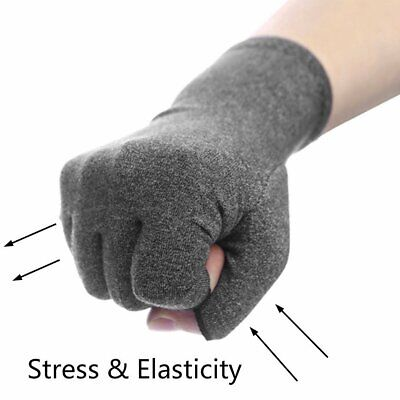 Pair Anti Arthritis Hand Compression Fingerless Gloves Brace Support Pain Relief