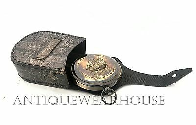 ROSS LONDON Pocket Compass Nautical Antique Brass Push Button Compass With Case