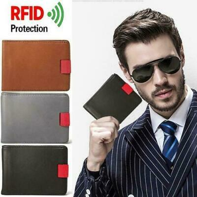 Mens Leather Wallet Card Holder Slim Pull-Out Wallet RFID Blocking Cardholder