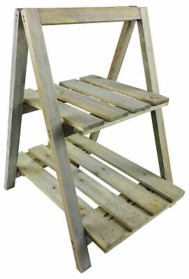 Rustic Wooden Greenwash Stand Outdoor Garden Shelving Unit Plant Herb Pot Holder