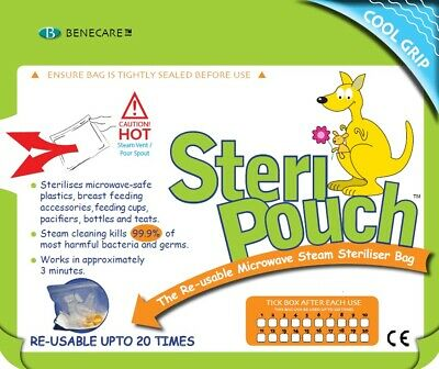 BeneCare™ 5x STERI-POUCH MICROWAVE STERILISER BAG, Baby bottle Steriliser, Steam