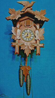 Cuckoo clock black forest one day original German wood carving mechanical