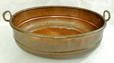 "Large Antique/Vtg 19"" Hand Hammered Turkish Copper Brass Pot Pan w/ Handles 5749"