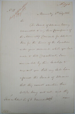 1836 Admiralty Navy Letter Signed By John Barrow Arctic Explorer Travel Writer