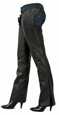 Ladies Leather Low Rise Motorcycle Chaps C1003.11 Size Medium