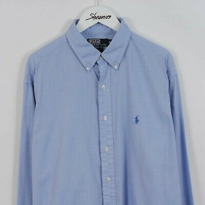 Mens Polo Ralph Lauren Yarmouth Long Sleeve Shirt in Blue Size L 16.5