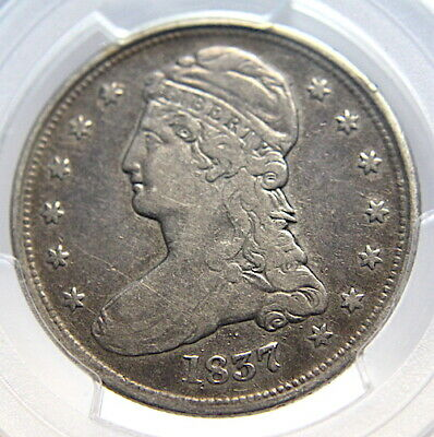 PCGS 1837 F15 Capped Bust HALF DOLLAR 50c Reeded Edge