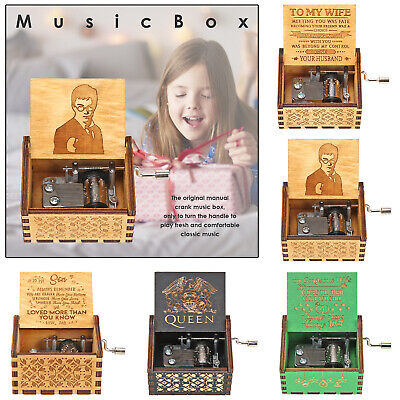 Retro Carved Wooden Hand Cranked Music Box Manual Child Birthday Gift Home Decor