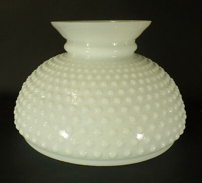 "New 10"" Fitter Opal White Milk Glass Hobnail Student Lamp Shade USA Made #SH162"