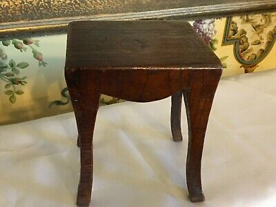 Antique English Victorian Wooden Treen Minature Table Hand Carved