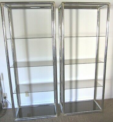 Pair Mid Century Modern Chrome & Glass Etageres Milo Baughman? Display Shelves