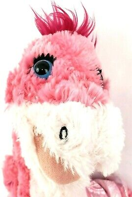 "BABW Build A Bear 18"" Pink Shimmer Accents Brachiosaurus Dinosaur With Pink Tutu"
