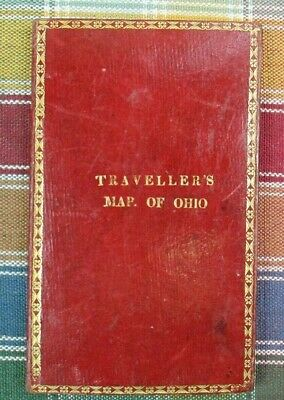 1832 Traveller's Map of Ohio Pocket Map - S Augustus Mitchell