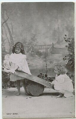 See Saw 2 Girls Doll Postcard Seesaw Unposted