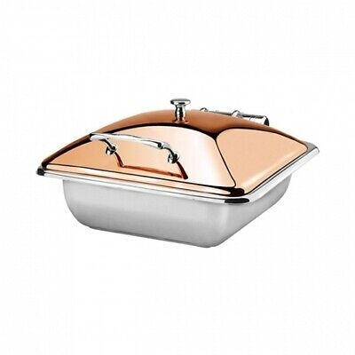 Athena Induction Chafer Rect 1/2 Stainless Steel Golden Rose Lid Fuel Heated