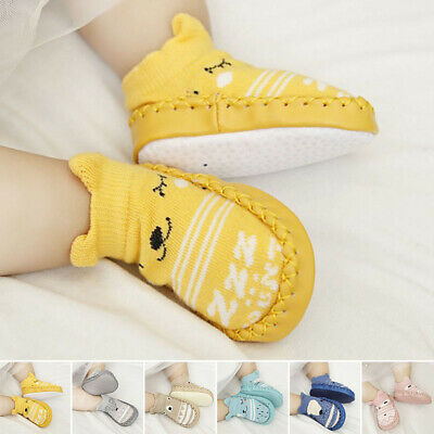Baby Kids Toddler Anti-Slip Socks Shoes With New Soft Sole Floor Walking UK