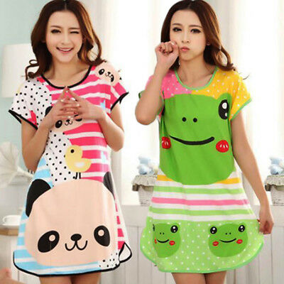 Women Kids Girls Princess Cartoon Nightie Nightdress Sleepwear Nightwear Summer