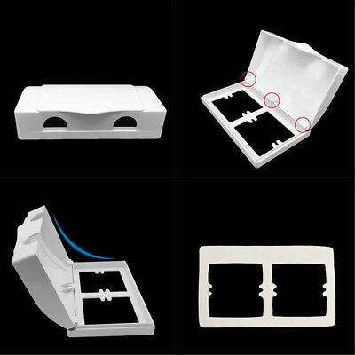 Double Electric Socket Protector Plug Cover Baby Child Safety Box White #HID