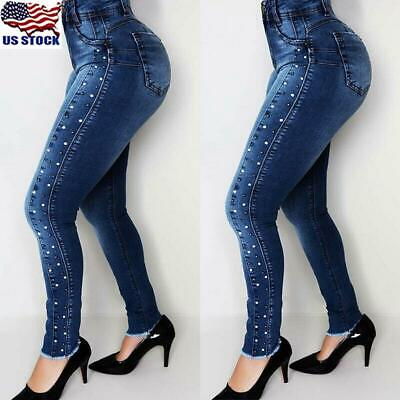 Women Beading High Waist Jeans Pants Ladies Skinny Stretch Pencil Pants Trousers