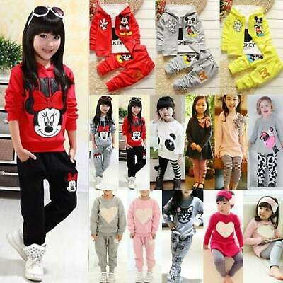 Kids Girls Cotton Coat Tracksuit Pants Hoodies+Joggers Sweatshirt Costume Outfit