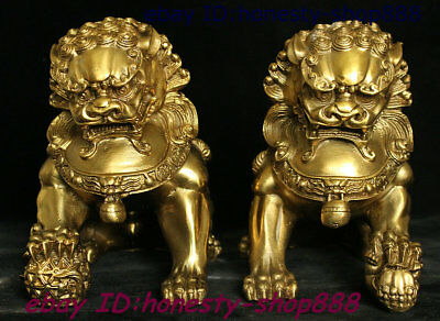 Chinese Brass Copper Fengshui Wealth Animal Foo Fu Dog Guardion Lion Statue Pair