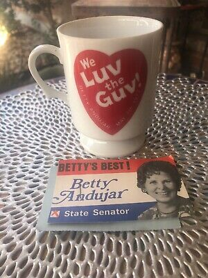 Vintage 1977  WE LUV THE GUV BETTY ANDUJAR  Cup  & 1972 CALENDAR WITH NOTES