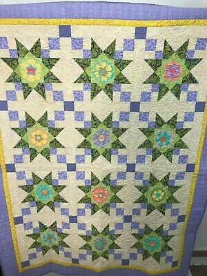 """REVERSIBLE STAR PATTERN QUILT YELLOW BLUE GREEN  48"""" x 60"""" SHABBY COTTAGE EUC"""