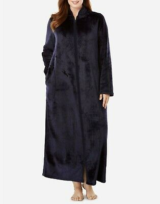 Dreams & Co. Plus Size Navy Long Sleeves Microfleece Robe Size 4X(34/36)