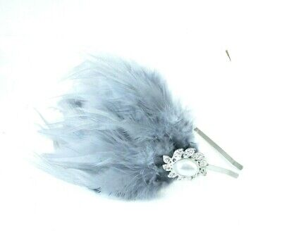 Grey Silver White Pearl Fascinator Feather 1920s Headband Flapper Dress 7981