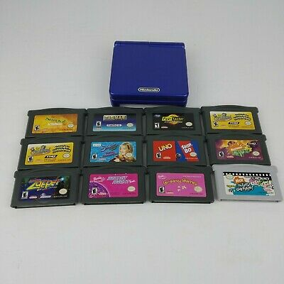 Blue Nintendo Game Boy Advance SP GBA with 11 gamesand 1 video cartridge