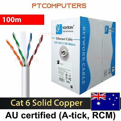 Cat6 100m UTP Ethernet Lan networking Cable Roll Solid copper core FREE 20x RJ45
