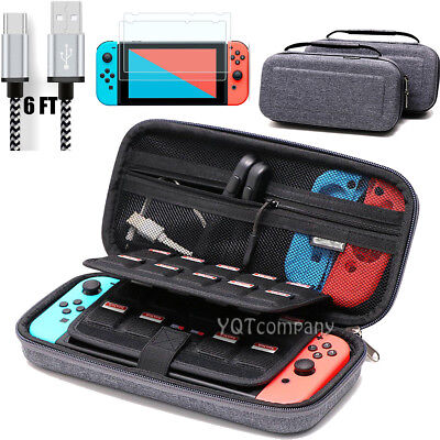 For Nintendo Switch Bag Travel Accessories Case+Charging Cable+Screen Protector