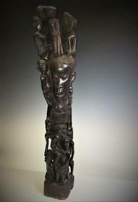 Vtg Amazing Hand Carved Wooden African Family Tree of Life Wood Art Sculpture