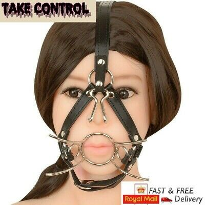 Spider Stainless Steel Open Mouth O-Ring Gag Head Harness Restraint Nose Hook UK