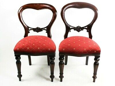 A Pair of Antique Mahogany Balloon Back Chairs - FREE Shipping [5756 A]