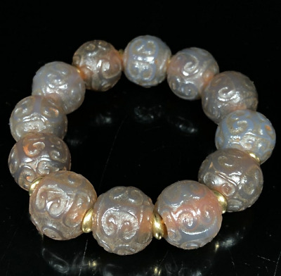 China Ancient Collection All Natural old agate Ruyi Hand carved Bracelets