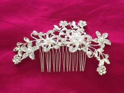 Hair Clip  Lovely White Hairpiece Wedding Sparkles Pearls Flowers Piece 11 cm