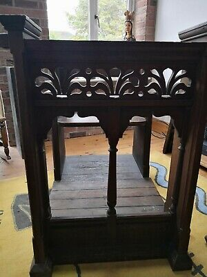Very unusual antique Church pew with ornate carved front